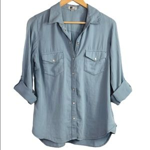 Kut from the Kloth chambray snap front shirt small